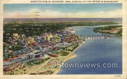 Bird's Eye View of Davenport - Iowa IA Postcard