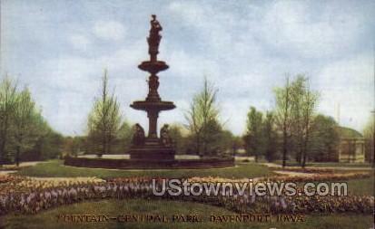 Fountain - Central Park - Davenport, Iowa IA Postcard