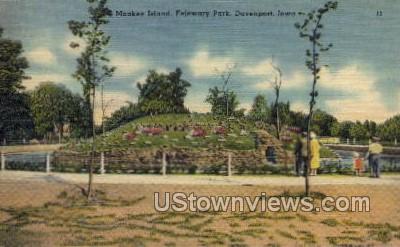 Monkey Island, Ferjervary Park - Davenport, Iowa IA Postcard