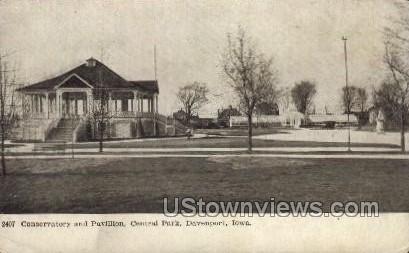 Conservatory and Pavillion, Central Park - Davenport, Iowa IA Postcard