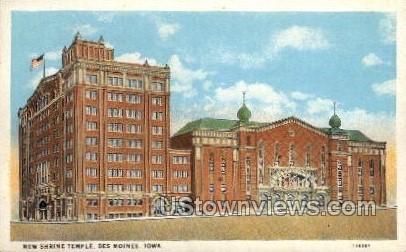 New Shrine Temple - Des Moines, Iowa IA Postcard