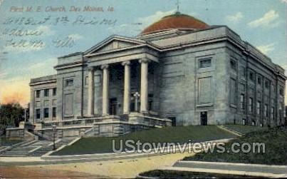 First M.E. Church - Des Moines, Iowa IA Postcard