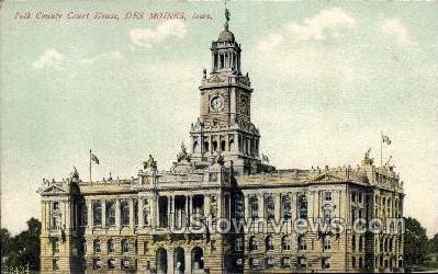 Polk County Court House - Des Moines, Iowa IA Postcard