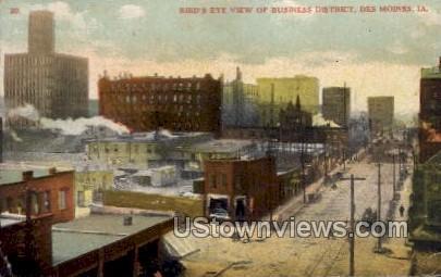 Bird's Eye View of Business District - Des Moines, Iowa IA Postcard
