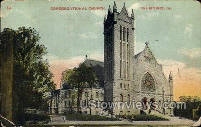 Congregational Church - Des Moines, Iowa IA Postcard