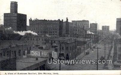 A View of Business Section - Des Moines, Iowa IA Postcard