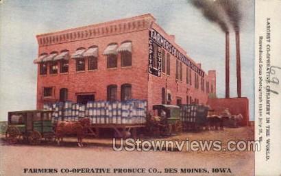 Farmers Co-Operative Produce Co. - Des Moines, Iowa IA Postcard
