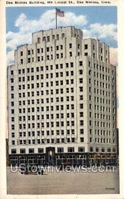 Des Moines Building, 6th Locust St. - Iowa IA Postcard