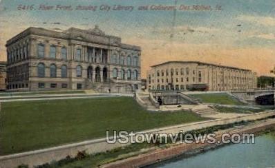 River Front, City Library and Coliseum - Des Moines, Iowa IA Postcard
