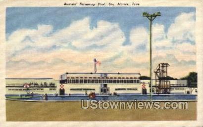 Birdland Swimming Pool - Des Moines, Iowa IA Postcard