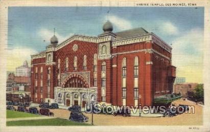 Shrine Temple - Des Moines, Iowa IA Postcard