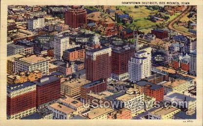 Downtown District - Des Moines, Iowa IA Postcard