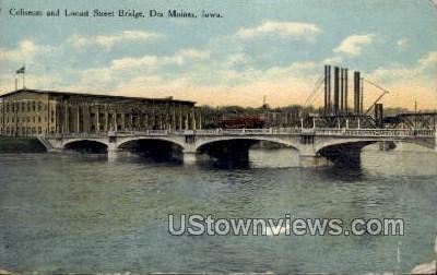 Coliseum and Locust Street Bridge - Des Moines, Iowa IA Postcard