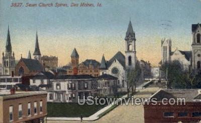 Seventh Church Spires - Des Moines, Iowa IA Postcard