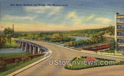 18th Street Viaduct and Bridge - Des Moines, Iowa IA Postcard