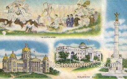 State of Iowa - Des Moines Postcard