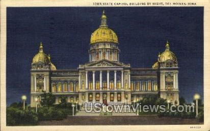 Iowa State Capitol By Night - Des Moines Postcard