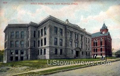 West High School - Des Moines, Iowa IA Postcard