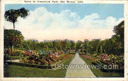 Scene at Greenwood Park - Des Moines, Iowa IA Postcard