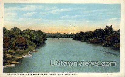 Des Moines River from 6th Avenue - Iowa IA Postcard