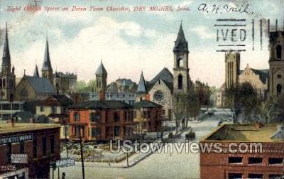 Eight Church Spires On Downtown Churches - Des Moines, Iowa IA Postcard