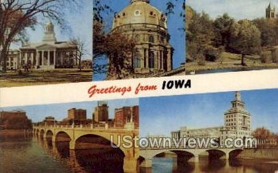 Greetings from Iowa - Des Moines Postcard