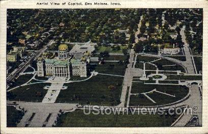 Aerial View of Capitol - Des Moines, Iowa IA Postcard