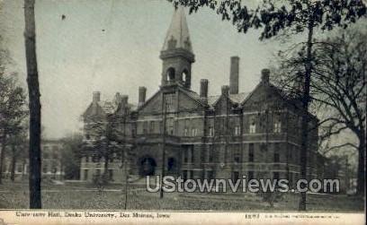 University Hall, Drake University - Des Moines, Iowa IA Postcard