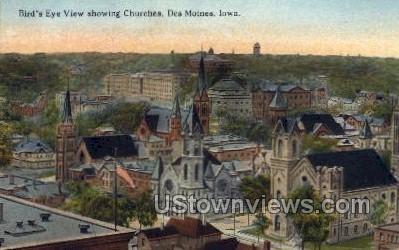 Bird's Eye View Showing Churches - Des Moines, Iowa IA Postcard