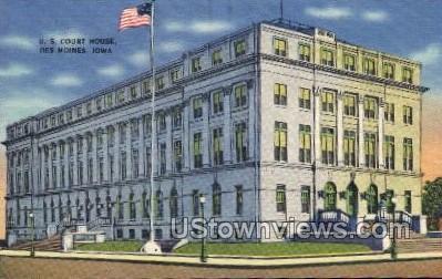 U.S. Court House - Des Moines, Iowa IA Postcard