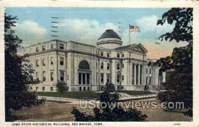 Iowa State Historical Building - Des Moines Postcard