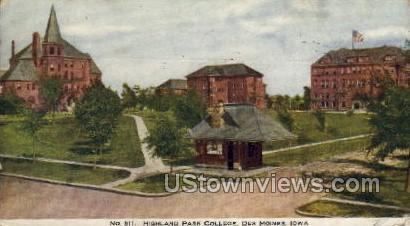 Highland Park College - Des Moines, Iowa IA Postcard