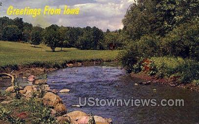 Indian Creek, Daniel Drake Park - Des Moines, Iowa IA Postcard