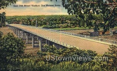 14th Street Viaduct - Des Moines, Iowa IA Postcard