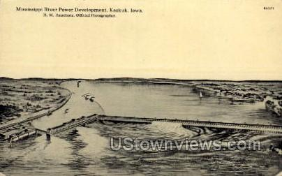 Mississippi River Power Development - Keokuk, Iowa IA Postcard