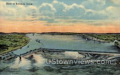 Dam at Keokuk - Iowa IA Postcard