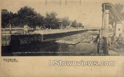 Lumber Raft in Lower Lock - Keokuk, Iowa IA Postcard