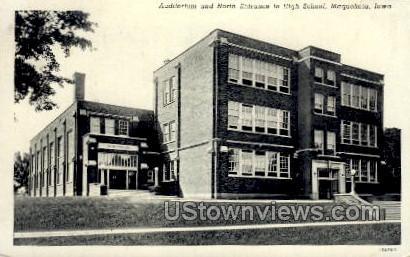 Auditoreum & North Entrance to High School - Maquoketa, Iowa IA Postcard