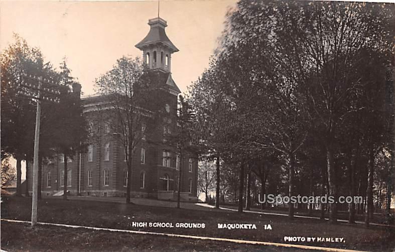 High School Grounds - Maquoketa, Iowa IA Postcard