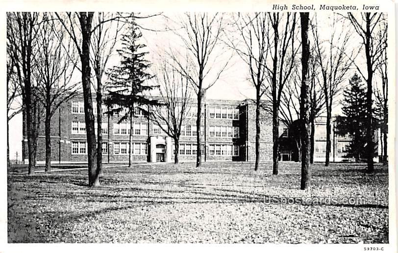High School - Maquoketa, Iowa IA Postcard