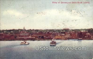 View of Davenport from Rock Island - Misc, Iowa IA Postcard