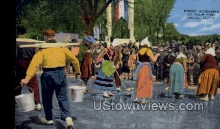 Street Scrubbing at Tulip Time - Pella, Iowa IA Postcard