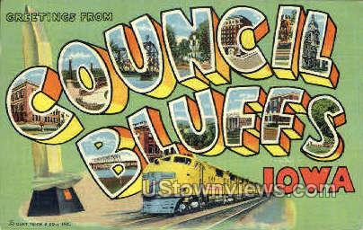 Greetings From - Council Bluffs, Iowa IA Postcard