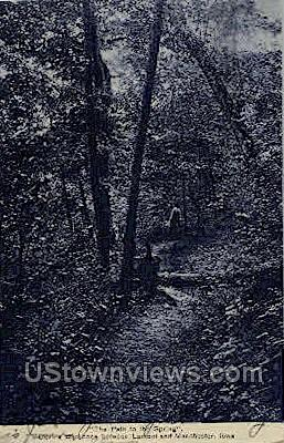 The Path To The Spring - Manchester, Iowa IA Postcard