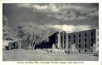 Seerley and Baker Hall - Cedar Falls, Iowa IA Postcard