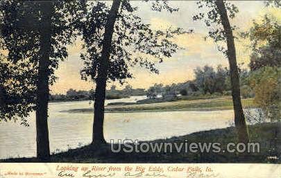 Looking Up River from big Eddy - Cedar Falls, Iowa IA Postcard