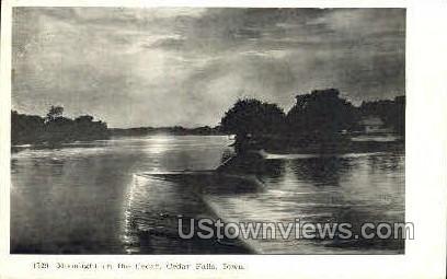 Moonlight on the Cedar River - Cedar Falls, Iowa IA Postcard