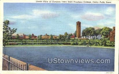 Scenic View of Campus - Cedar Falls, Iowa IA Postcard