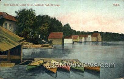 Boat Land in Cedar River - Cedar Falls, Iowa IA Postcard