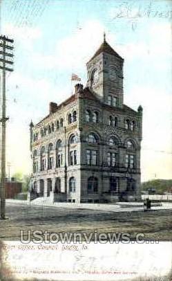 Post Office - Council Bluffs, Iowa IA Postcard